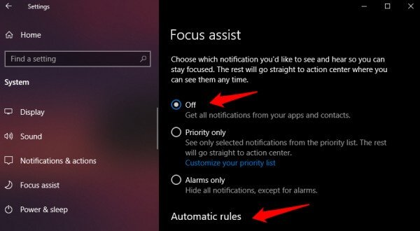focus assist for teams