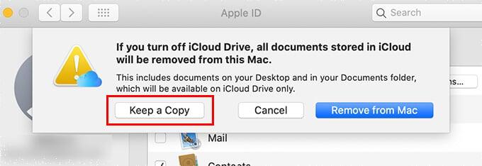 Keep a copy of iCloud Drive folders on Mac