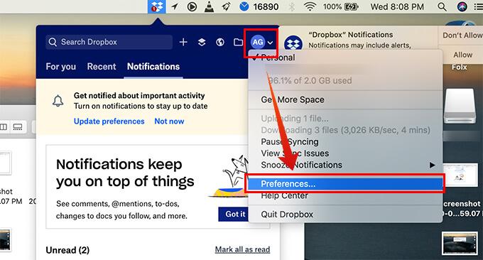Open Dropbox preferences on Mac