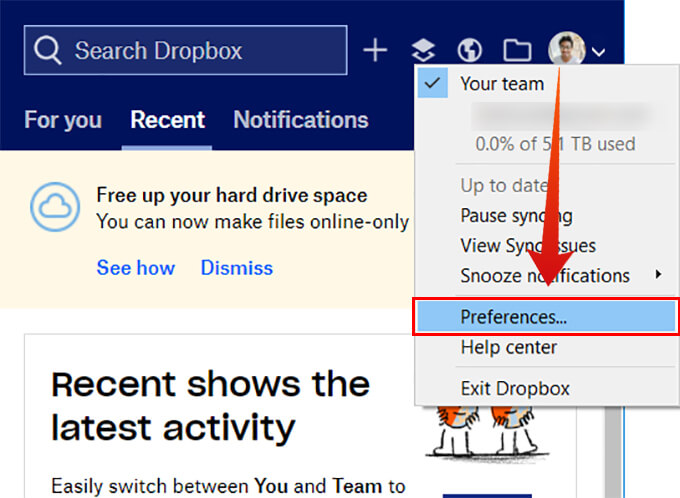 Open Dropbox preferences on Windows 10
