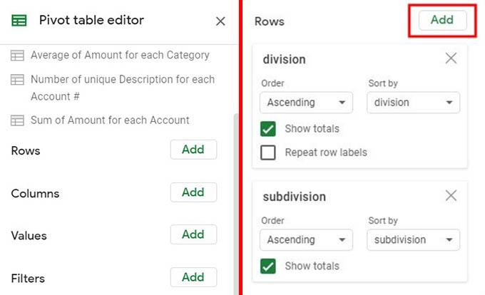 Pivot Table Editor