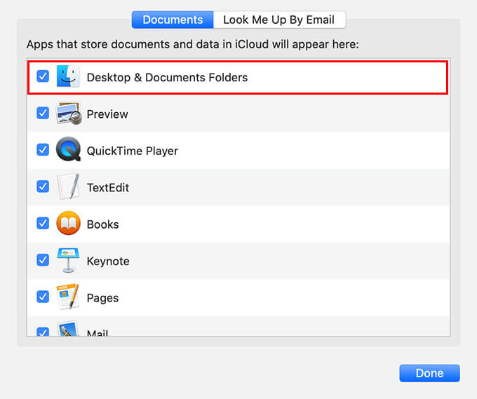 Remove desktop and documents folders from iCloud drive sync on Mac
