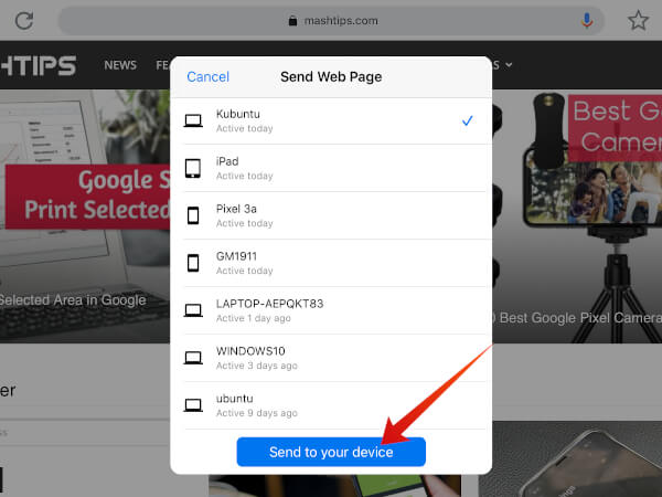 select device to send link from iPad