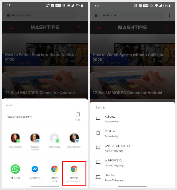 Send link from Chrome on Android to other devices