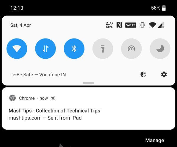 Chrome send link from desktop to phone notification