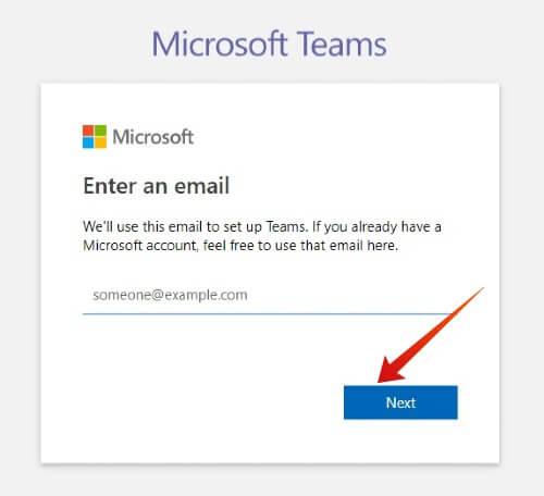 Windows Create Microsoft Teams account