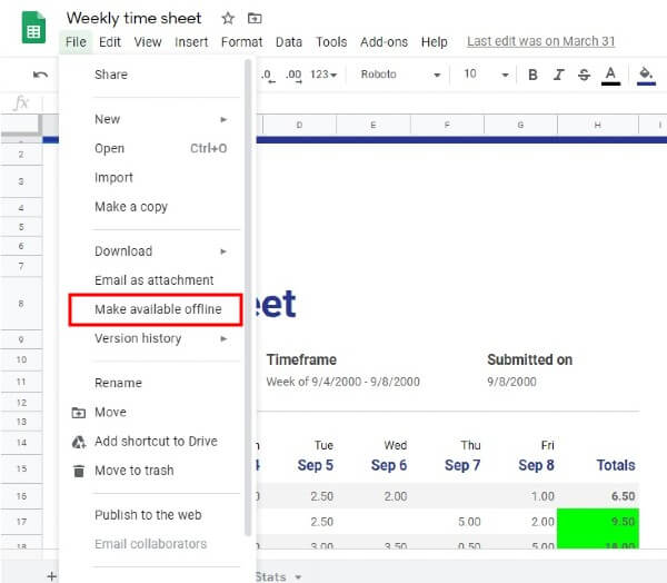 Windows Google Sheets Make Specific Files Offline (Sheet)