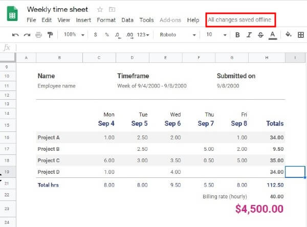 Windows Google Sheets Save Offline
