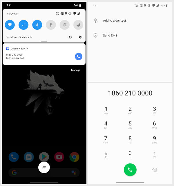 chrome phone number click to dial