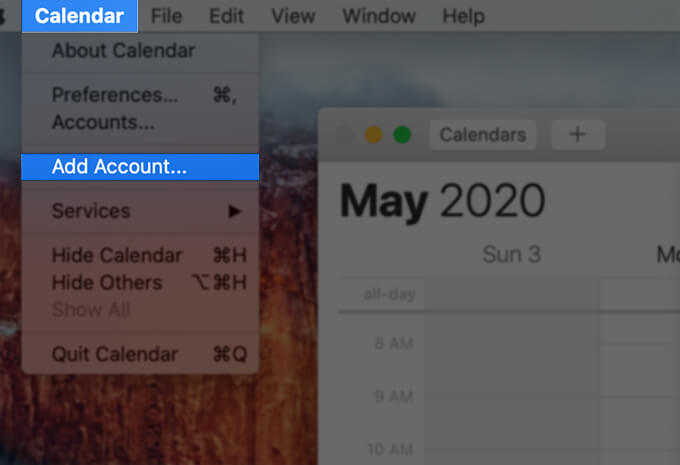 Add New Calendar Account on Apple Calendar app on Mac