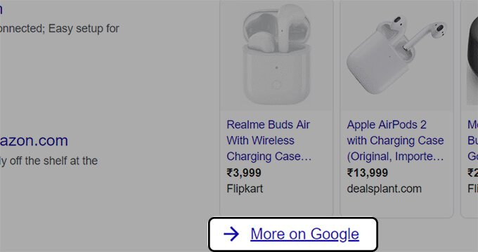 Click More On Google from Search Result Page Google Shopping