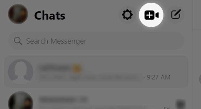 Click on Messenger Rooms button from Messenger Web