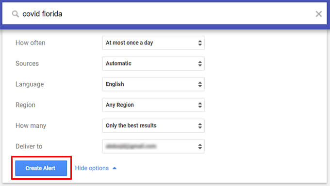 Create Alert for News Topics on Google Alerts Web