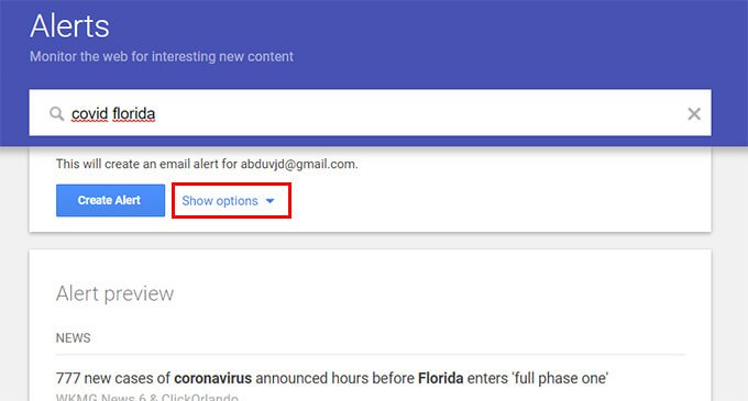 Create Google Alerts and tap show options