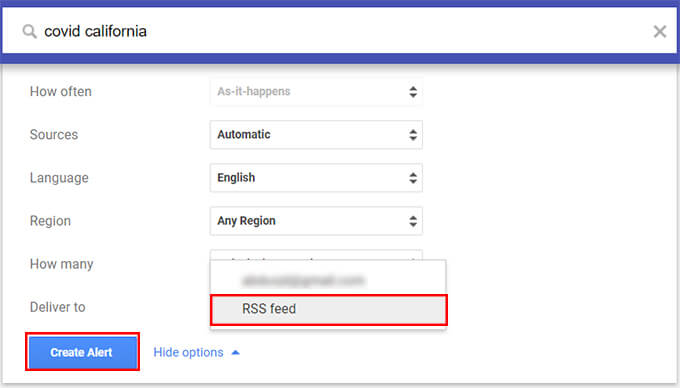 Get Google News Alerts on RSS Feed