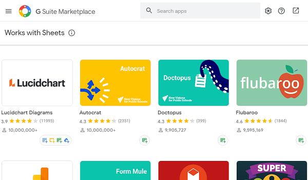 Google sheets addon gsuite marketplace