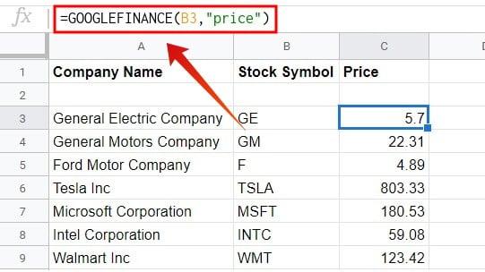 Google sheets get stock price