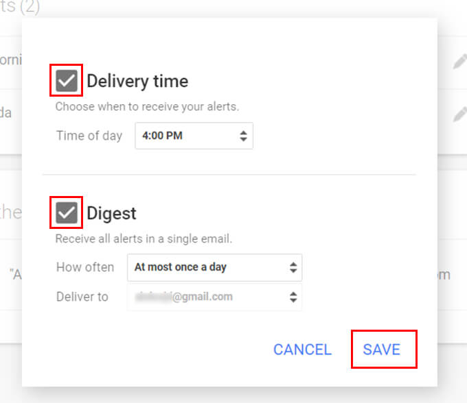 Click on Settings Menu in Google Alerts