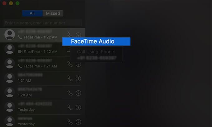 Make FaceTime Audio Calls on Mac
