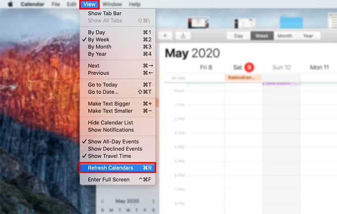 Refresh Calendars on Mac