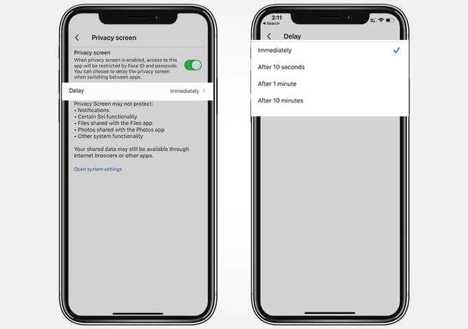 Set Face ID Auto-Lock Time Limit for Google Drive