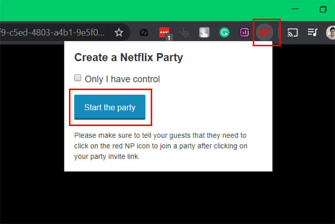 Start Netflix Party on Google Chrome Browser