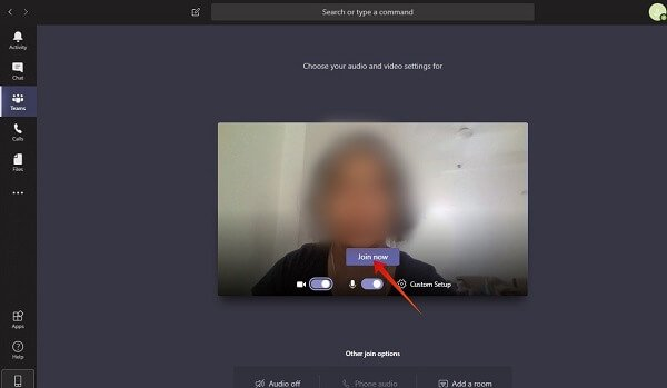 Windows Meeting audio video settings