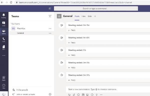 Windows Microsoft Teams Web app