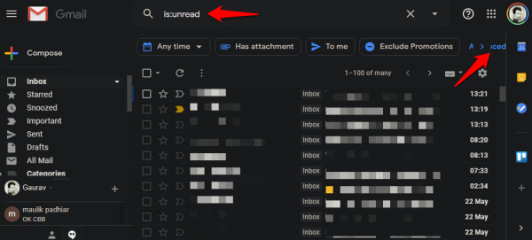 gmail search to filter