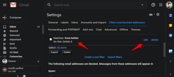 editing filters in gmail