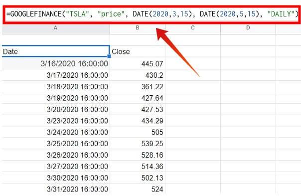 google sheet get historical stock data