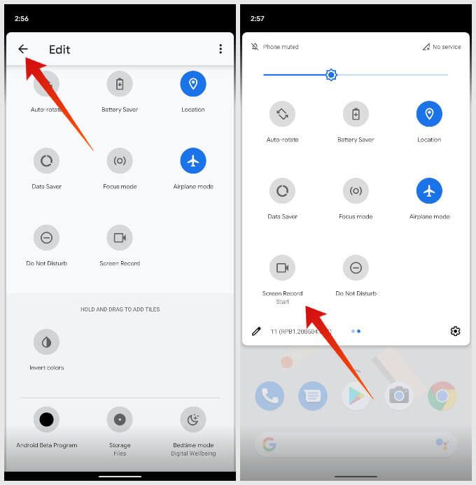 Add Screen Record quick settings tile in Android 11