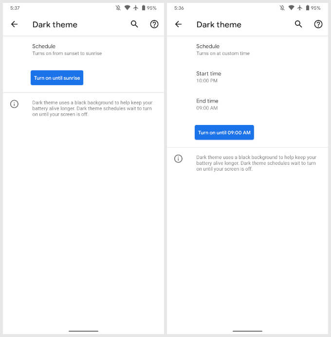 Schedule Automatic Dark Theme On Android 11