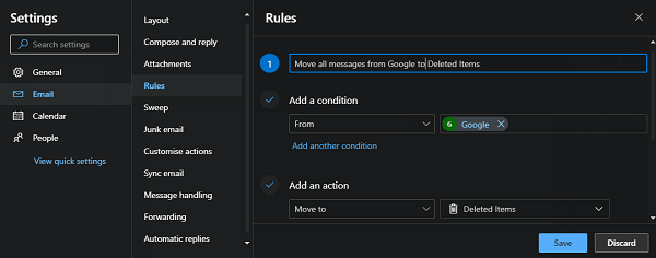 outlook rules with conditions and actions