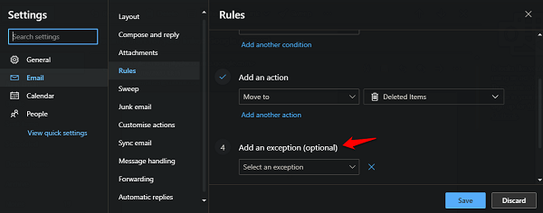 outlook rules exceptions