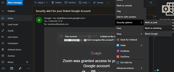 block, report emails in outlook