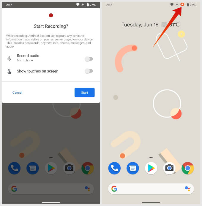 how to use built-in screen recorder on Android 11