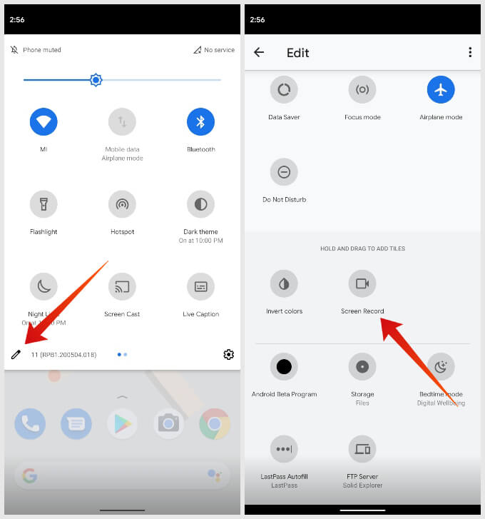 Find screen recorder quick setting in Android 11