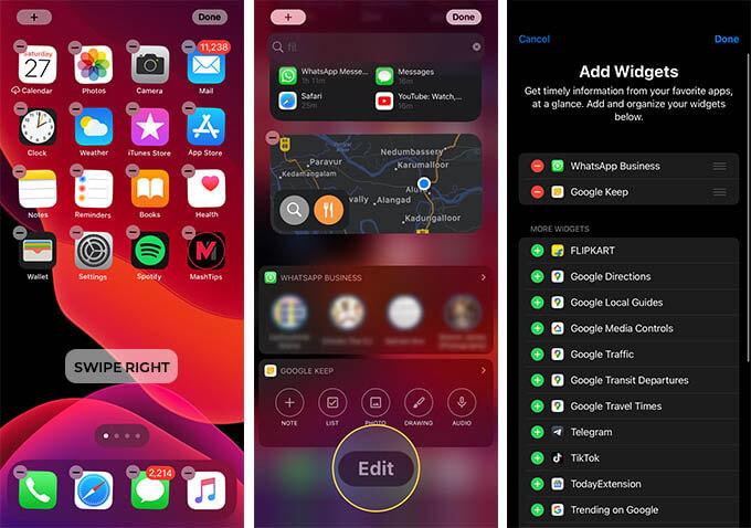 Edit Widgets Page on iOS 14