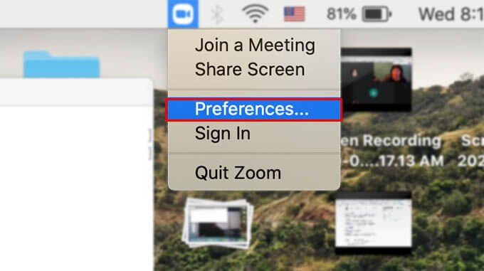 Open Zoom App Preferences on Mac