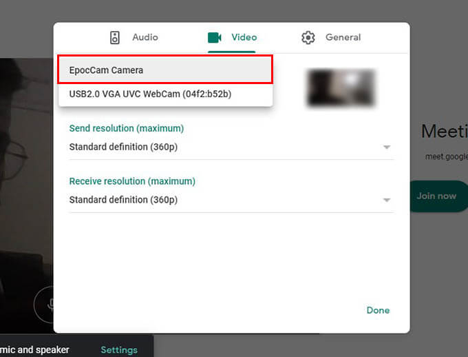 Use EpocCamera for Google Meet on Mac and Windows