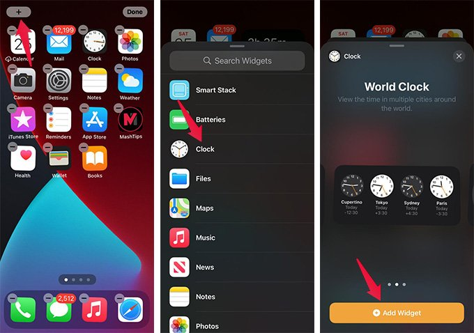 Add World Clock Widget on iPhone Home Screen