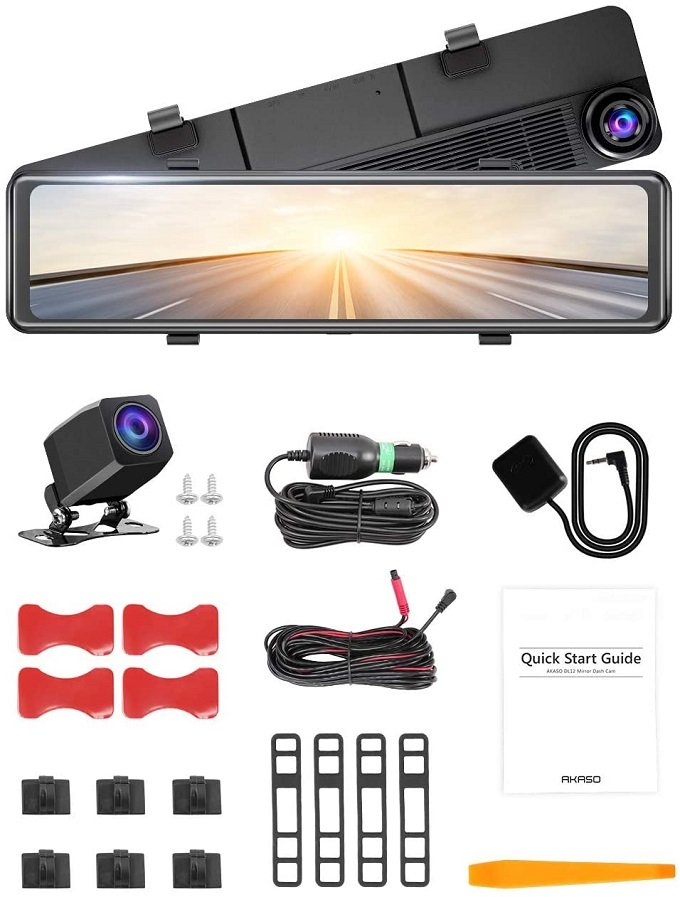 Akaso Dl12 front and rear dashcam accessories