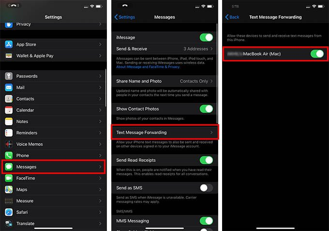 Enable Text Message Forwarding on iPhone