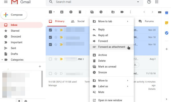 Forward Multiple Mail As Attachments on mail