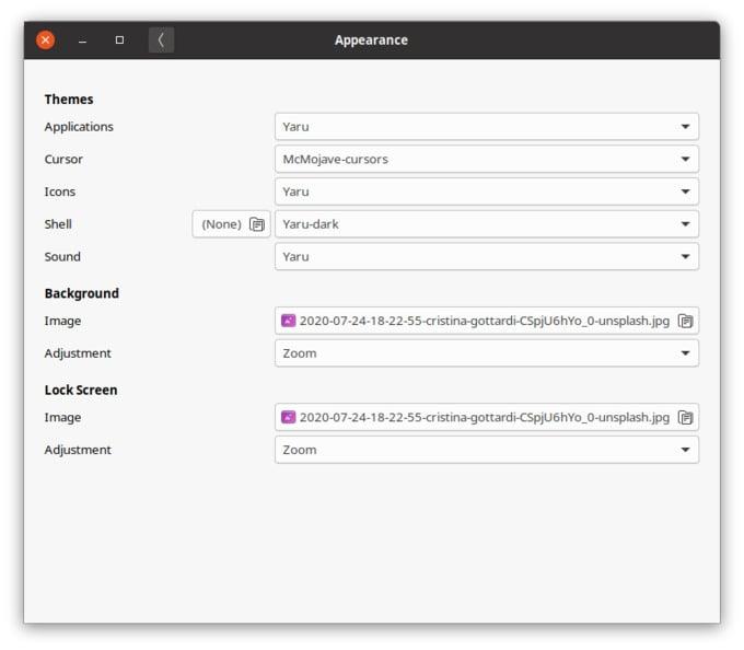 GNOME Tweak Tool Default options on Ubuntu