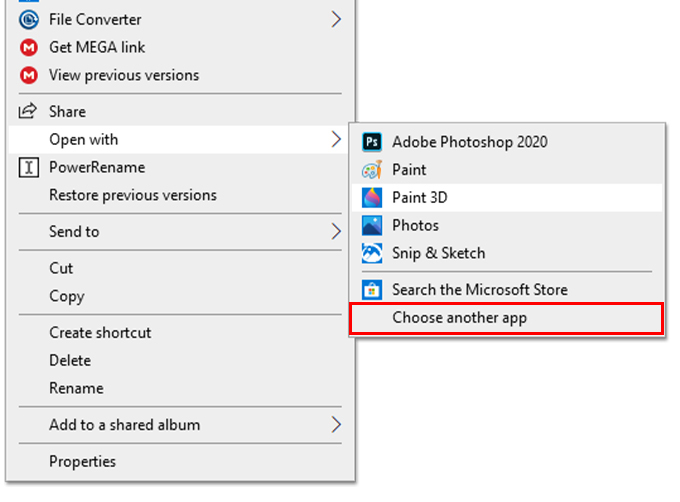 Open with context menu
