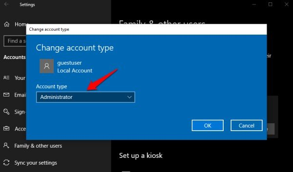 change user account to admin in windows 10