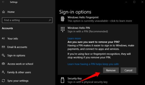 removing windows hello pin
