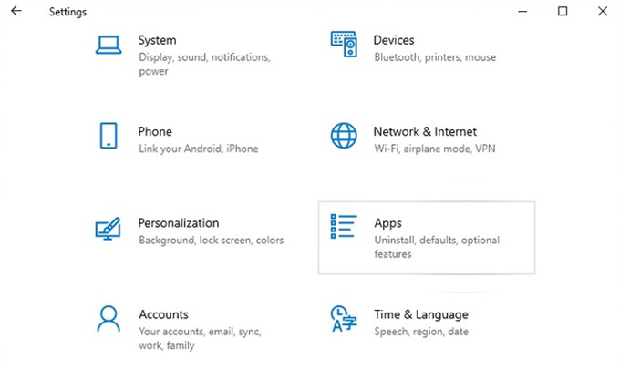 Windows 10 Settings Go to Apps
